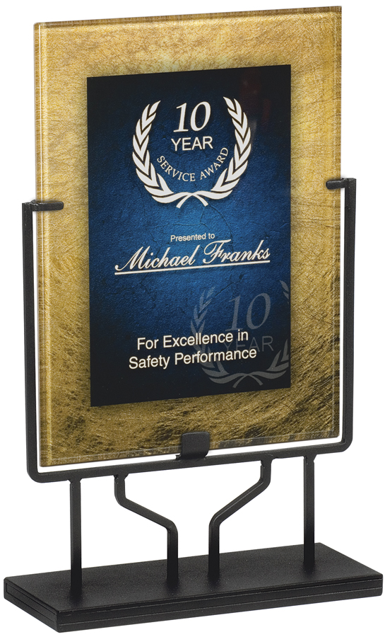 PLX800 Blue Gold Acrylic Plaque With Iron Stand Size 875x 1175 Overall Height 16 Also Available In Burgundy And Autumn Harvest